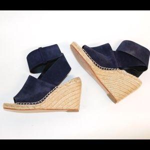 Céline Black Leather Espadrilles Wedges Size 7.5